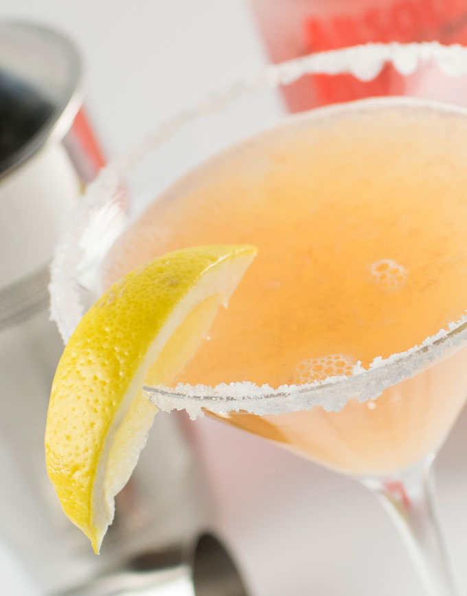 Ruby Red Lemondrop martini sugar rim