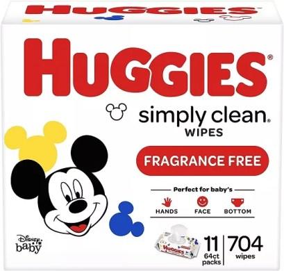huggies simply clean baby wipes 11 flip top packs