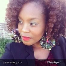 MrsHairToday wearing Afrofusion Earrings