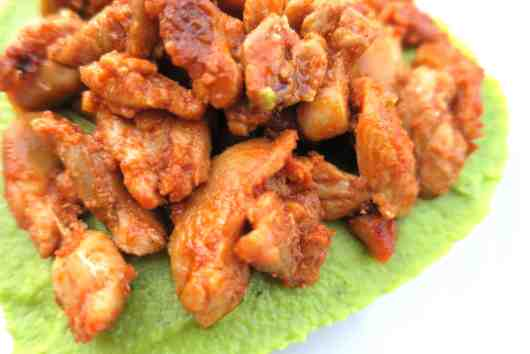asian chicken with cauliflower & broccoli purée