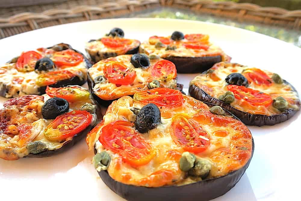 Easy Low Carb Roasted Eggplant Mini Pizzas