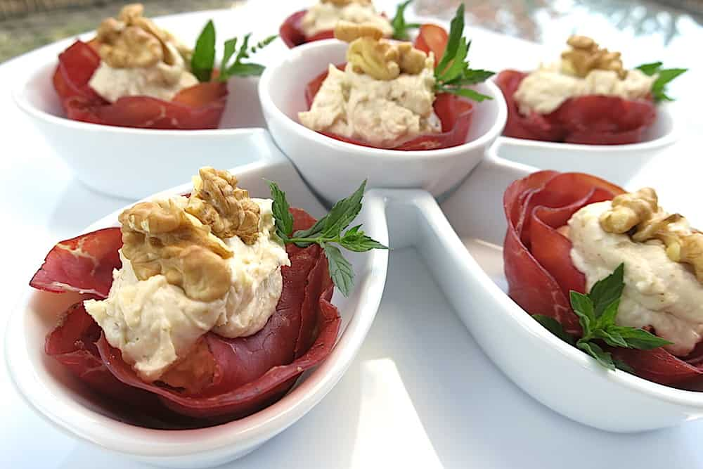 Keto Bresaola Cups with Mascarpone & Walnuts