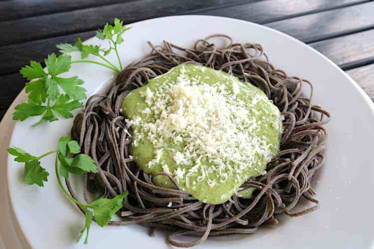 Low Carb Keto Spaghetti with Pesto Sauce