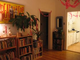 talman party decorations and bookshelves