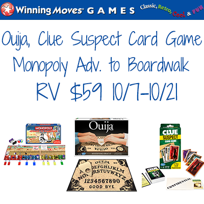 Winning Moves Ouija Clue Suspect Monopoly Adv to Boardwalk Giveaway