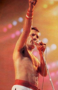Freddie on stage - The Works Tour