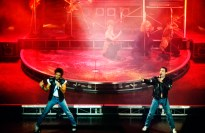 Freddie Mercury performs alongside Cliff Richard in the musical Time5