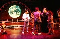 Freddie with cast of musical Time in 1988