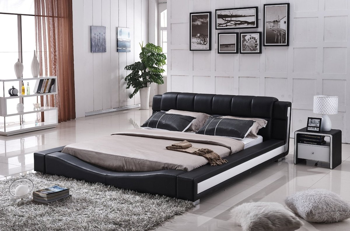 NEW Liam Black And White Faux Leather Contemporary Platform Bed Queen Size Queen Size