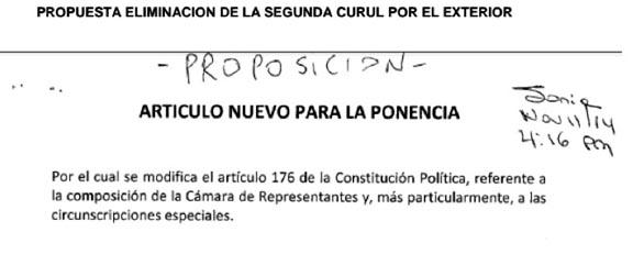 Documento que señala que la propuesta de la eliminación de la segunda curul de los colombianos en el exterior, fue presentada el 11 de noviembre a las