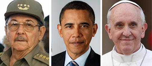 Desde la izquierda: Raúl Castro, Barack Obama y el Papa Francisco, artífices de la nueva relación entre Cuba y los Estados Unidos.