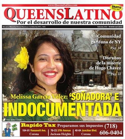 Portada de la edición de marzo de QueensLatino con la imagen de Melissa García Vélez. Foto Javier Castaño