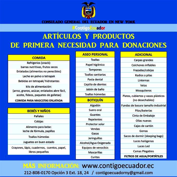 Ecuatorianos lista donativos