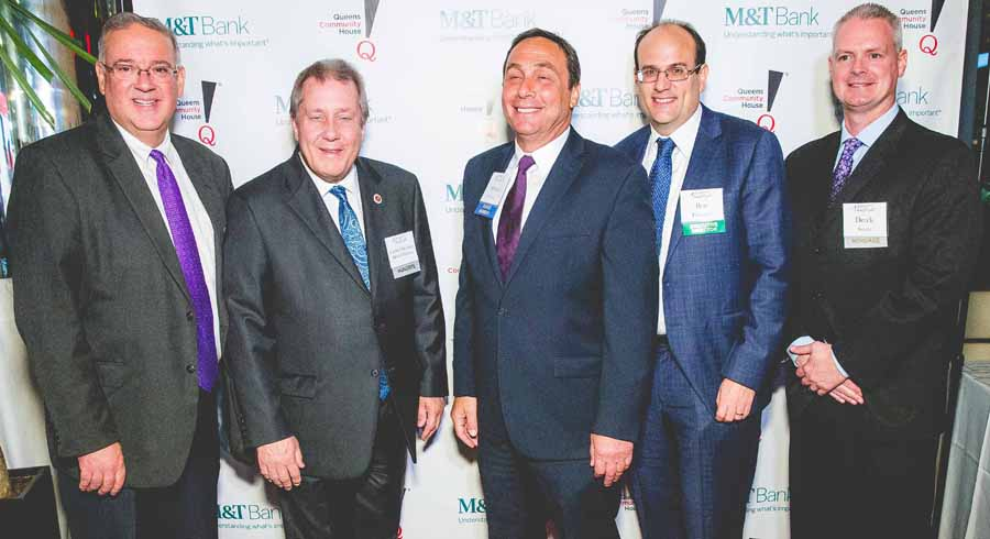 From left to right, Honoree Tom Grech of the Queens Chamber of Commerce, Honoree Council Member Daniel Dromm, QCH Board President Michael Stellman, QCH Executive Director Ben Thomases, Honoree Aramark representative Derek Swartz.