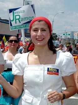 Jessica Ramos como candidata a líder distrital demócrata en Queens.