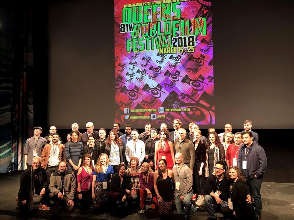Los fundadores del Queens World Film Festival y productores y directores que exhiben este año en el Museum of the Moving Image. Foto Javier Castaño
