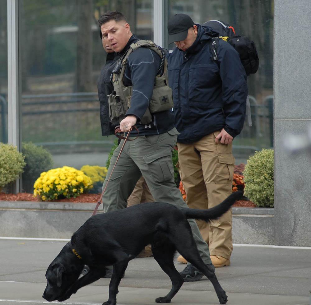El sistema de seguridad para desplazar a El Chapo en Nueva York es riguroso e incluye perros olfateadores. Foto Humberto Arellano