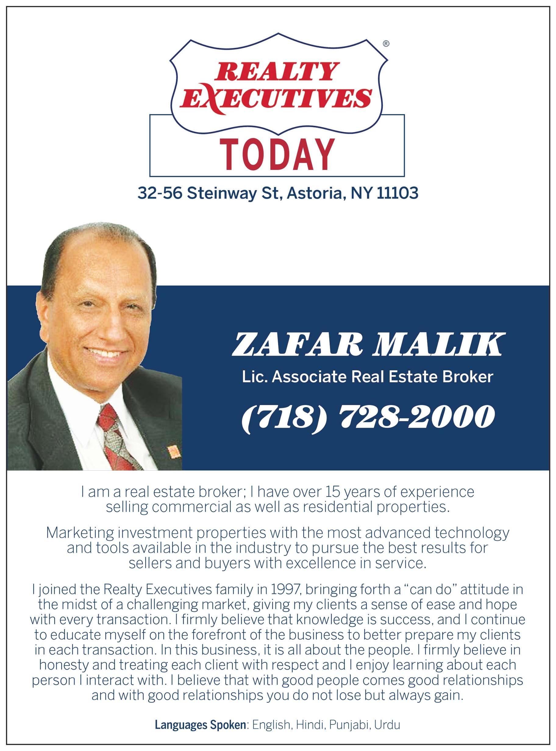 Zafar Malik Realtor Ad