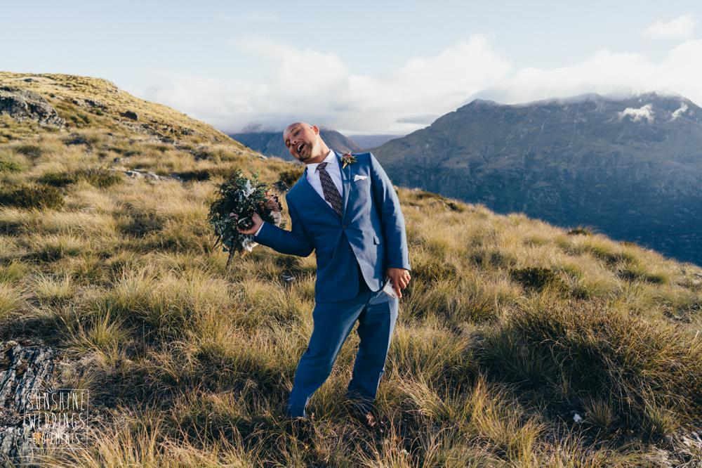 groom and bouquet during elopement wedding in Queenstown