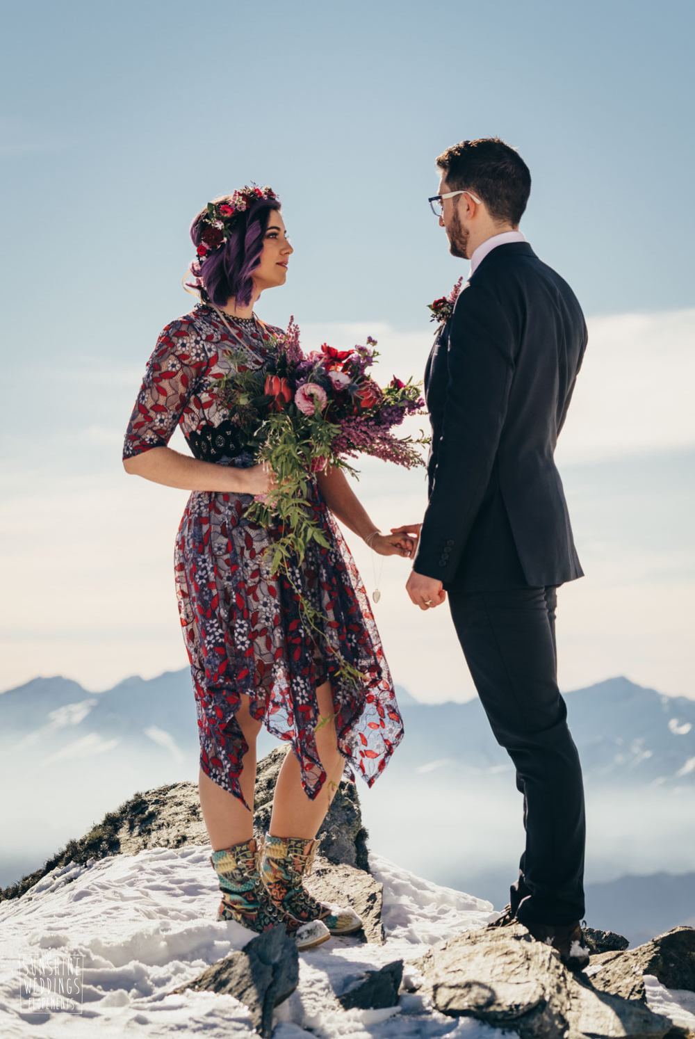 Rock n roll bride Queenstown elopement