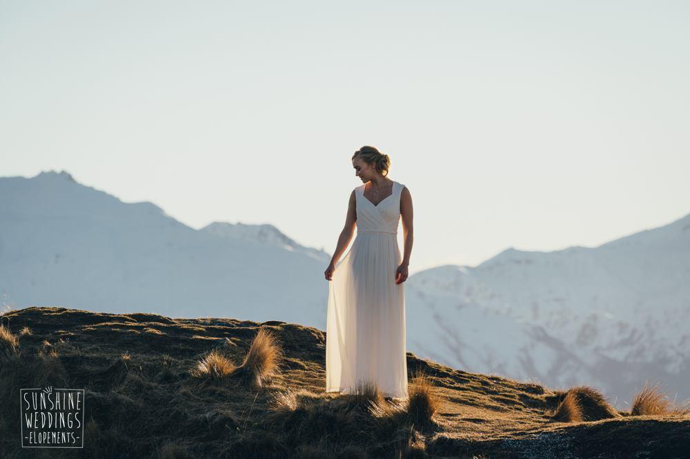 Bride mountain New Zealand elopement