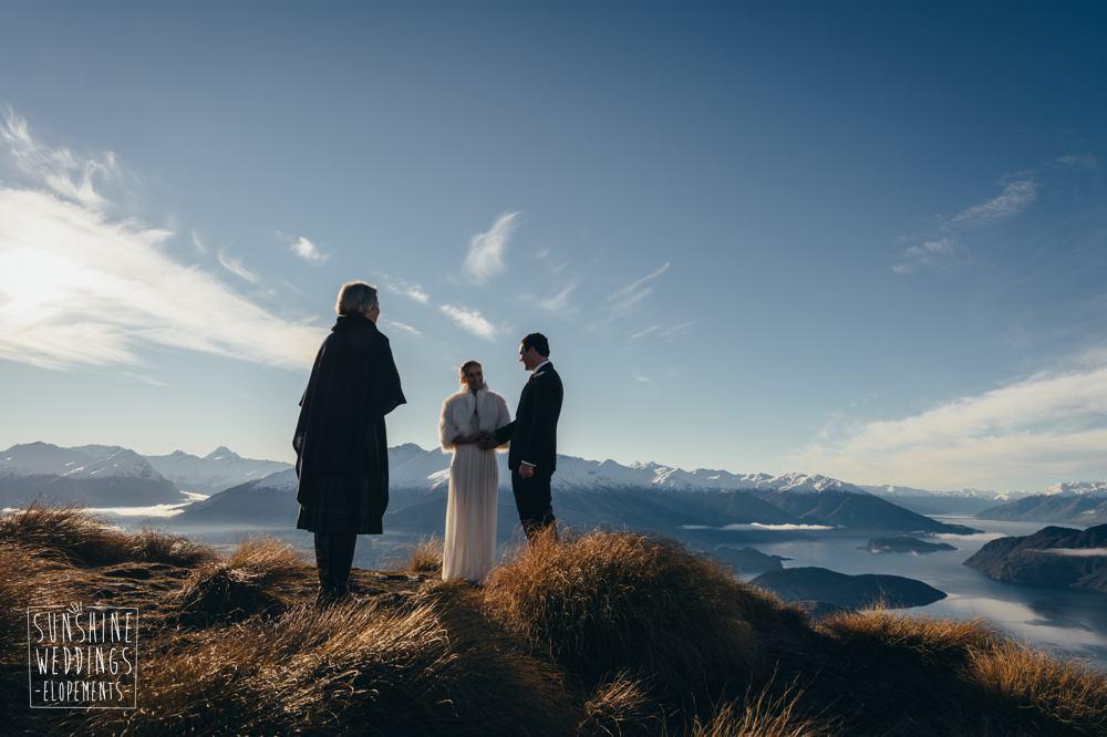 Coromandel Peak Mount Roy wedding ceremony