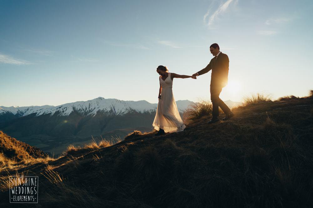 sunset mountain wedding new zealand