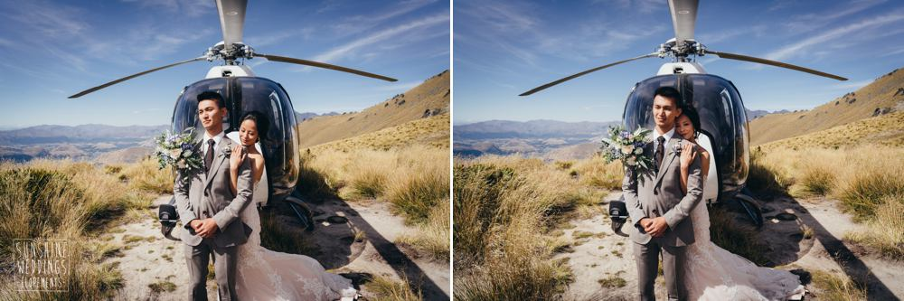 Heliworks helicopter on a Queenstown mountain wedding