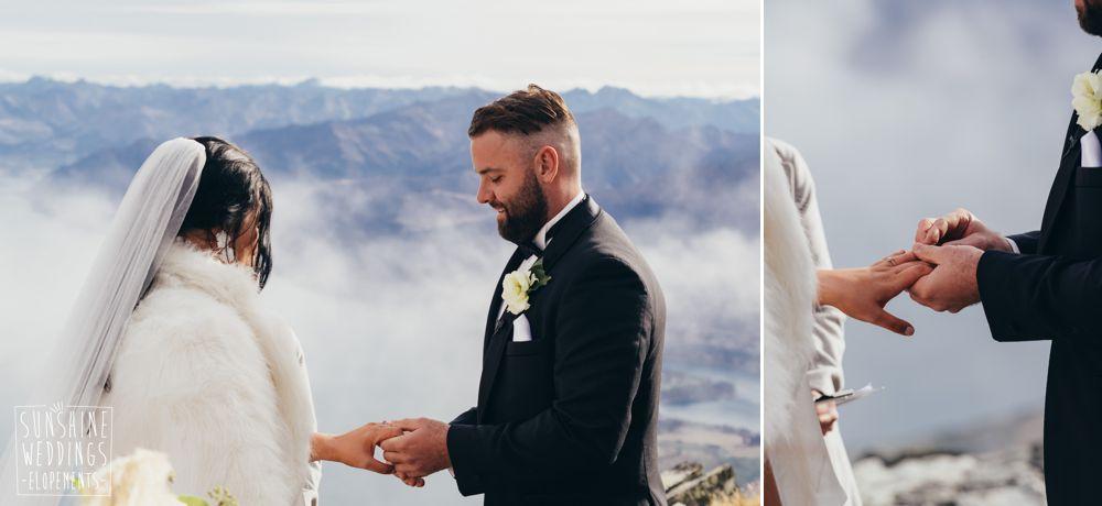bride and groom mountain wedding in New Zealand