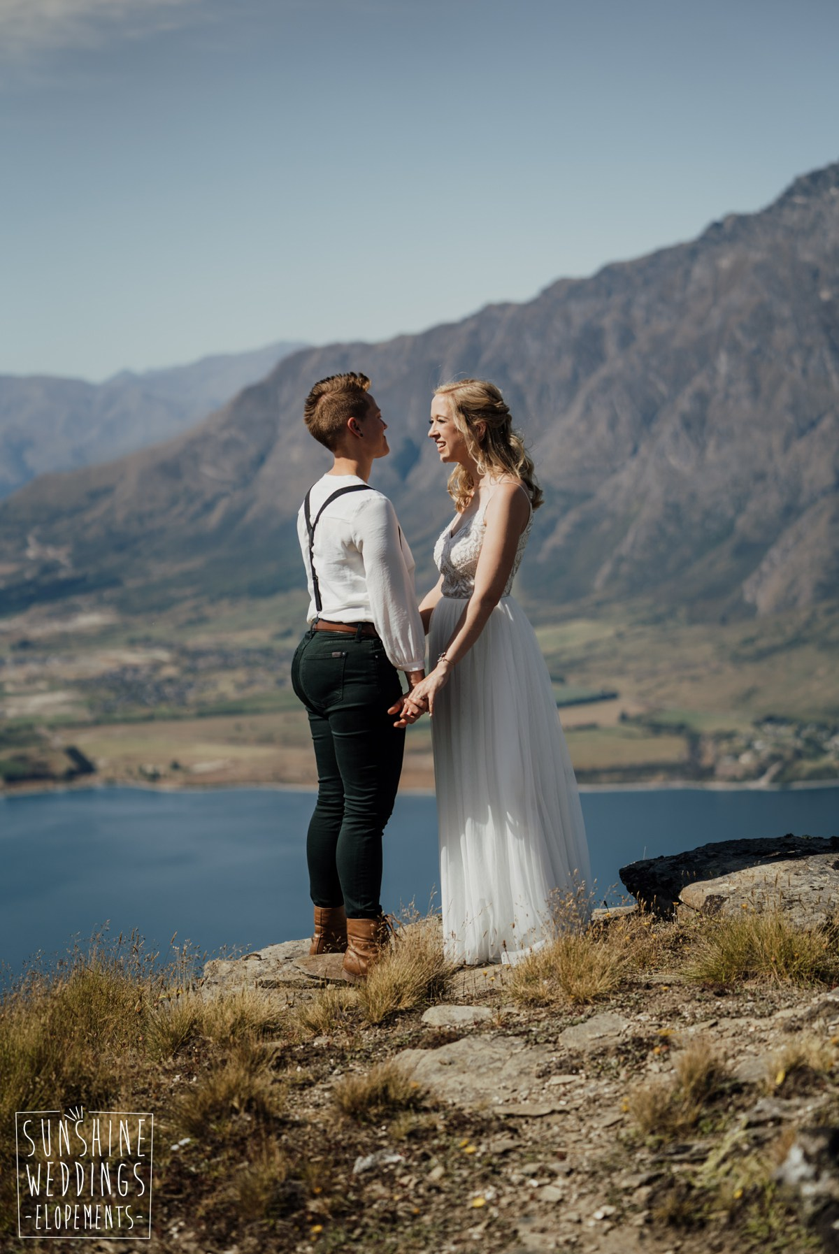 same sex wedding on mountain near queenstown