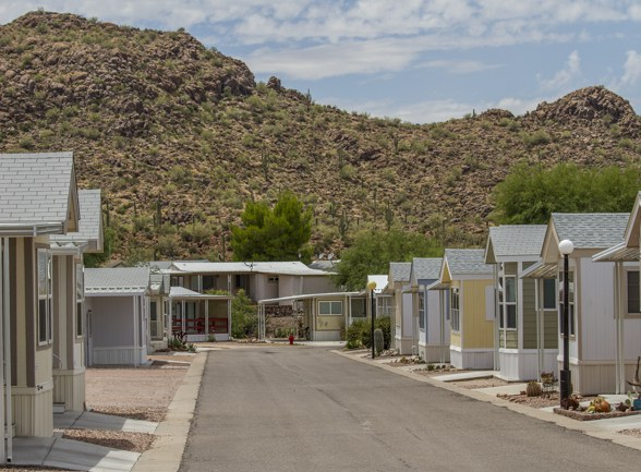 Park Models with Saguaro covered hill