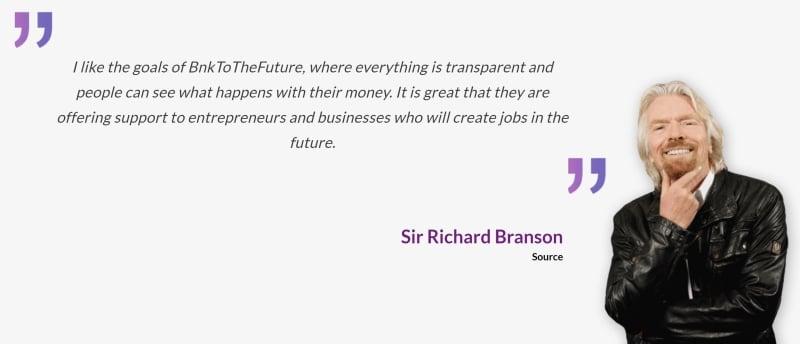 Sir Richard Branson BnkOfTheFuture BFT Token