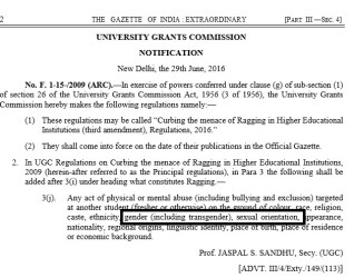 Incongruous Silence of Universities and Colleges, in Kerala, towards the updated UGC Anti-Ragging policy