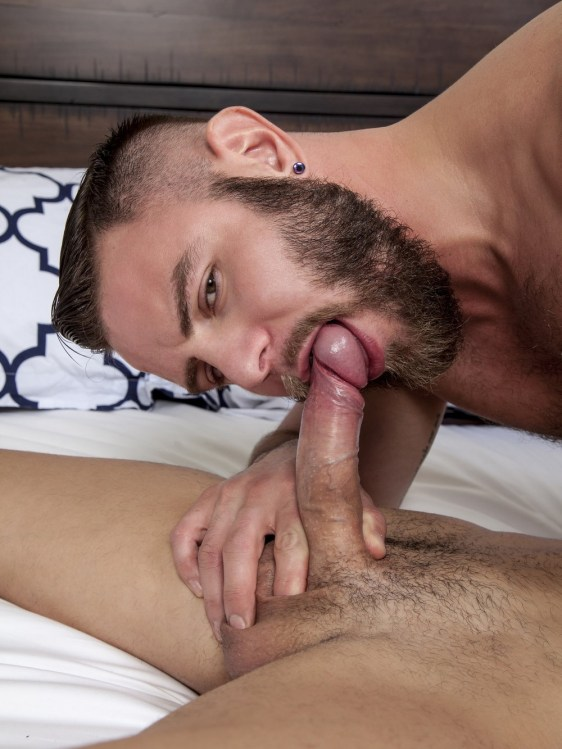 Have you missed Nick Sterling? Well he's back. And he's going bareback for the first time on film. And he does not disappoint. This is hot as fuck and Nick proves himself to be the dirty pig power fucker that I remember. The sexy fucker was crushing hard on Lukas and their sexual chemistry was palpable in the room. These hot sex machines needed to get it on. And when they let loose, there were blow jobs and rim jobs and hard ass raw fucking. This is what gay sex is all about . And beefy and bearded Nick Sterling did not let up on Lukas Valentine. But Lukas can take it rough. And he took every inch up his hole until finally Lukas shot cum all over himself. Nick then pulled out and shot ribbons of spunk onto Lukas's hole and then shoved it back in. Be sure to check out the free gay porn pics of the hot raw action here at Randy Blue.