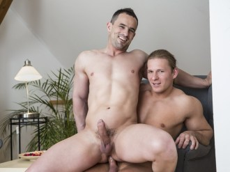 Julius Taylor and Andy West are veterans to the world of gay porn. They have both topped and bottomed and have bodies of pure chiseled perfection. Today they finally to get to take on each other. Julius is the lucky top and Andy is the willing hole. They start things easy with some sexy soft making out, but as their hard uncut cocks pop out of their jeans, they cannot hold back their passions any longer. Mouths move down to cocks and they take turns giving hot and wet blow jobs. Then Julius rims Andy as he prepares his hole for a hot butt fucking. The two nude men then start to fuck raw. They bareback doggy style and Andy rides on Julius' cock before they settle into a spooning position. Here Andy cums buckets as Julius slams into him and then Julius pulls out and cums all over Andy's hole. Then he gathers up all the cum and shoves it back inside to give Andy a hot cream pie. Be sure to check out the free gay porn pics of the hot bareback action here at Randy Blue Universe.
