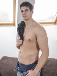 Isaac Hartley is straight and new to the scene. But that doesn't mean he isn't excited. This sexy European stud has black hair and hazel eyes. A perfect combination that will make your mouth water. He also has a fucking sex body. He is muscled in all the right places. And now it's time for him to lose his gay viriginity. And Tomas Fuk is just the straight hunk to pop his cherry. Tomas is 6'2, beefy and all man. He shows Isaac, that you can be straight and still have a shit ton of fun doing some hot gay fucking. They get naked and start sucking each other's hard uncut dicks. Then the fucking begins. For a new comer, Isaac takes Tomas' raw dick with ease. And suddenly he is begging for Tomas to thrust into him harder. They fuck like bunnies, until finally Tomas cums inside his ass. This send Isaac over the edge and he busts a nut too. Be sure to check out the free gay porn pics of the hot bareback action here at Randy Blue Universe.