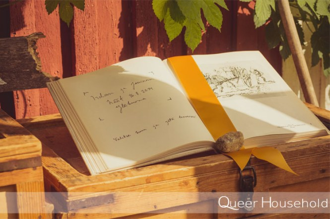DIY art book wedding guest book - Queer Household