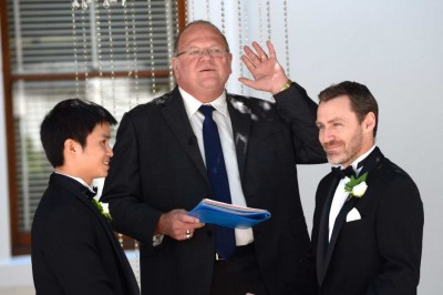 Rev Roger Munson performs a same-sex marriage