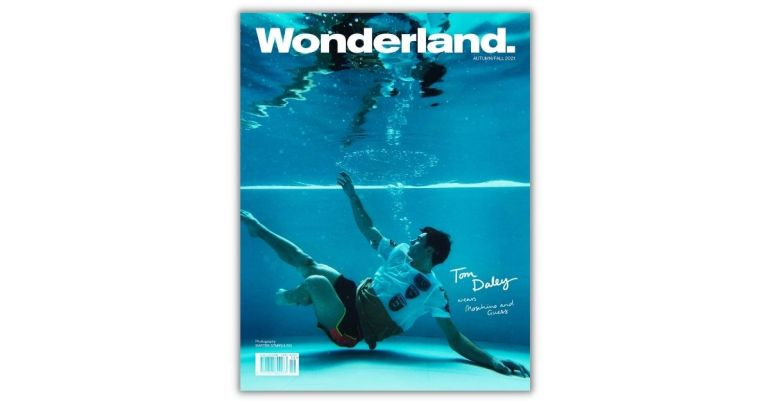 tom daley in diving pool on wonderland magazine cover