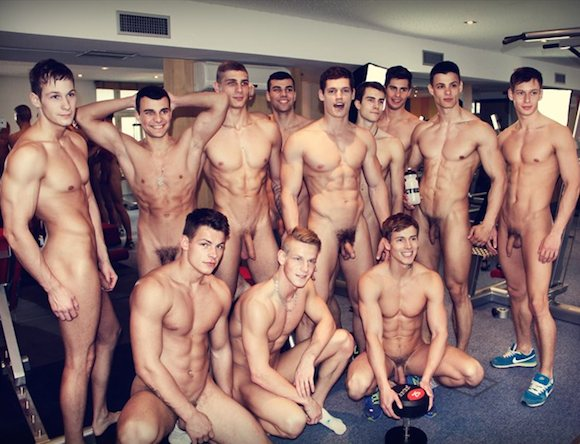 Site, with Naked men exercise