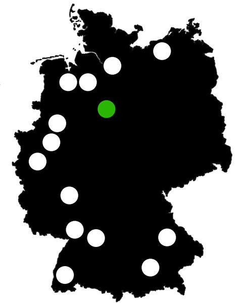 Queerscope, Deutschlandkarte mit Hannover hervorgehoben