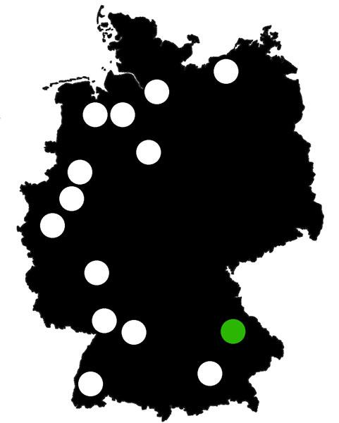 Queerscope, Deutschland-Karte mit Regensburg hervorgehoben