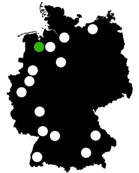 Queerscope, Deutschland-Karte mit Oldenburg hervorgehoben