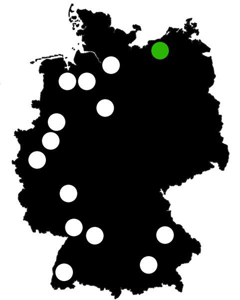 Queerscope, Deutschland-Karte mit Rostock hervorgehoben