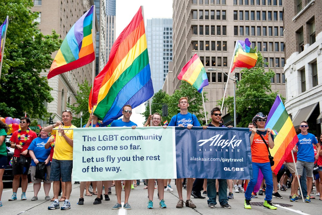 Alaska Airlines marching in the 2015 Seattle Pride Parade. Photo courtesy of Alaska Airlines.