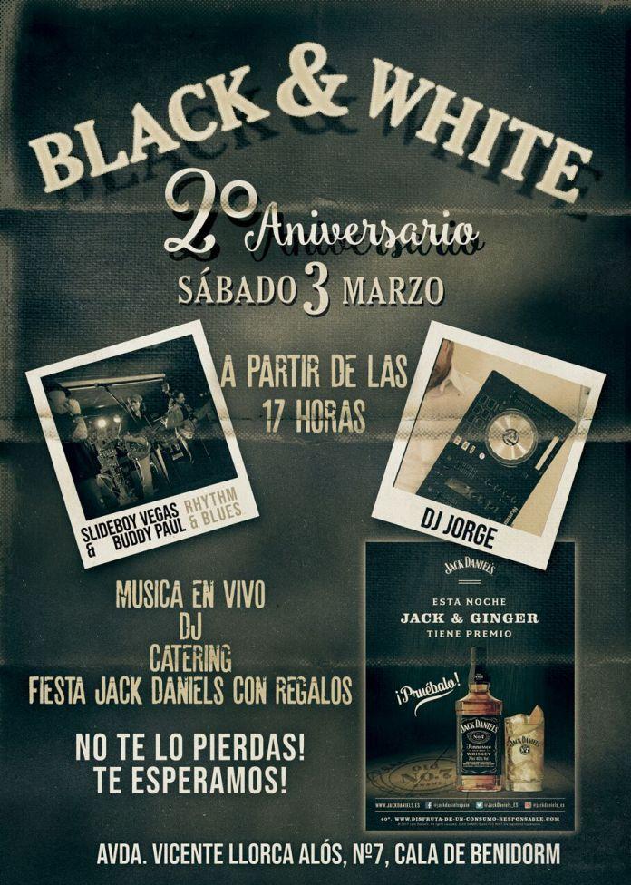 Fiesta aniversario en Primera línea de la Playa Poniente de Benidorm. Black & White Cumple dos años