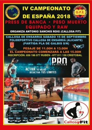 IV Campeonato de España de Press Banca y Peso Muerto Callosa Sarria