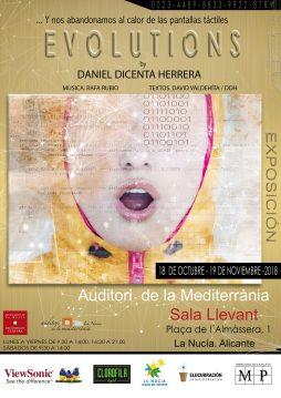 """Cartel de la exposición """"Evolutions"""" de Daniel Diceta"""
