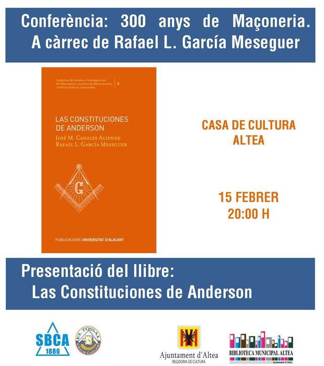 conferencia presentacion libro 300 anys massoneria Altea 2019
