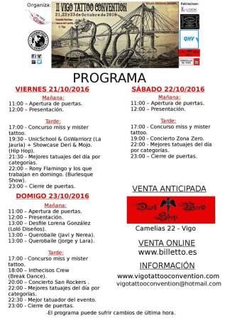 Programa de la Vigo Tattoo 2016
